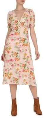 The Kooples Floral Silk A-Line Dress