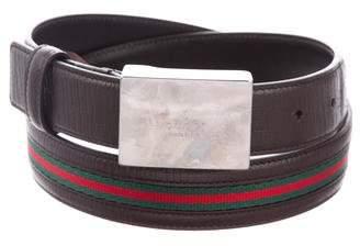 Gucci Leather Web Belt