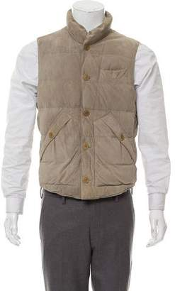 Brunello Cucinelli Suede Puffer Button-Up Vest