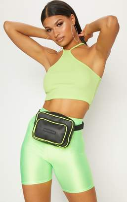 PrettyLittleThing Lime Rib High Neck Detail Crop Top