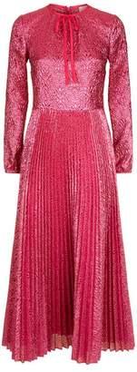 RED Valentino Metallic Pleated Skirt Midi Dress