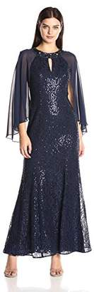 Ignite Women's Mother of The Bride Long Sequin Dress with Sleeves