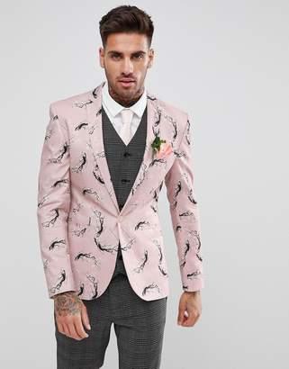 Asos DESIGN Super Skinny Blazer In Pink With Blossom Print