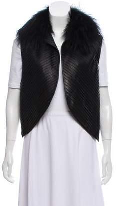 J. Mendel Fur Trimmed Leather Vest