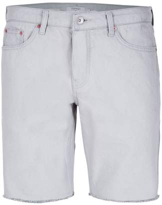 Topman Grey Raw Edge Slim Denim Shorts