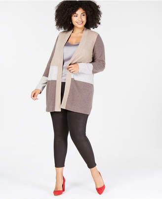 Charter Club Plus Size Pure Cashmere Colorblock Cardigan Sweater