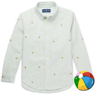 Polo Ralph Lauren Boys Ages 2 -6 Embroidered Striped Cotton-Oxford Shirt - Green