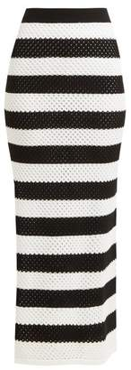 Dodo Bar Or Margaret High Rise Striped Cotton Skirt - Womens - Black White