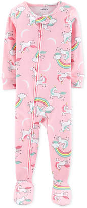 Carter's Carter Baby Girls Unicorn-Print Cotton Footed Pajamas