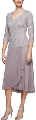 Alex Evenings Tea Length Lace & Chiffon Mock Two-Piece Dress