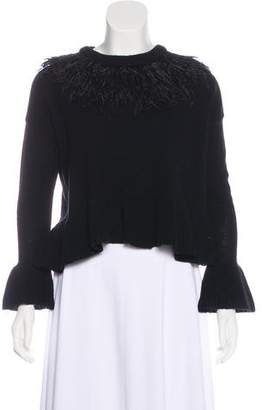 Cinq à Sept Ostrich Feather-Accented Wool Sweater w/ Tags