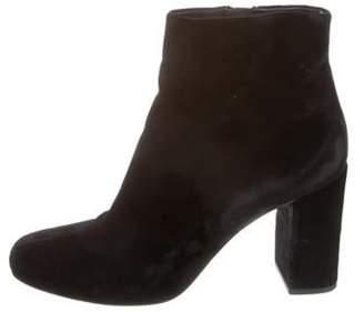 Saint Laurent Velvet Round-Toe Ankle Boots Black Velvet Round-Toe Ankle Boots