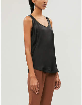 Brunello Cucinelli Bead-embellished stretch-silk vest top