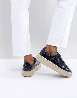 Puma Basket Heart Trainer in Navy Patent