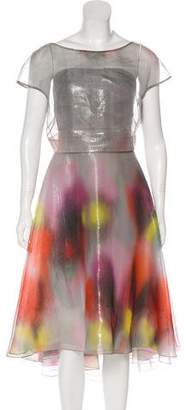 Lela Rose Silk-Blend Maxi Dress