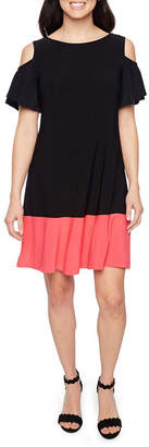 Ronni Nicole Short Sleeve Cold Shoulder A-Line Dress