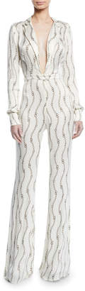 Alexis Danai Printed Long-Sleeve Plunging Jumpsuit