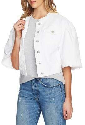 1 STATE 1.STATE Collarless Wide Sleeve Cropped Denim Jacket