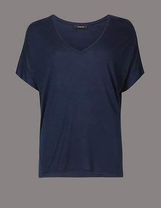 Marks and Spencer V-Neck Short Sleeve T-Shirt with Silk