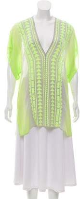 Milly Embroidered Silk Top