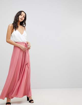 Asos DESIGN Pleated Maxi Skirt with Belt
