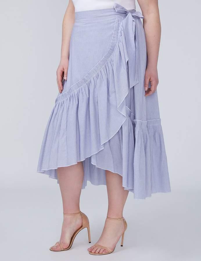 Ruffle-Hem Faux Wrap Skirt