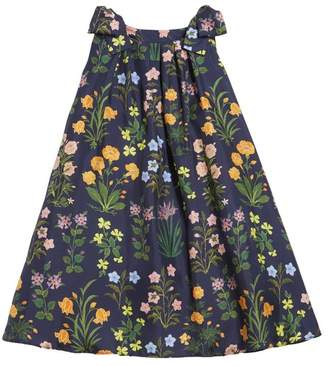 Oscar de la Renta Kids Flowers And Stems Silk-Twill Dress
