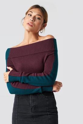 Linn Ahlborg X Na Kd Color Block Off Shoulder Sweater Burgundy/Petrol