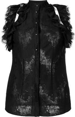 Just Cavalli ruffle sleeveless lace blouse