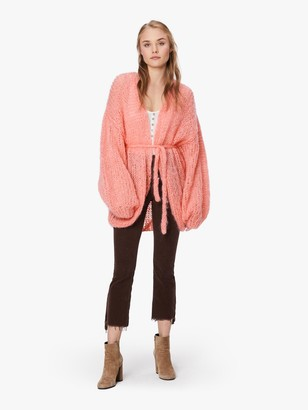 Maiami Mohair Oversized V Cardigan - Coral