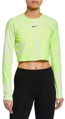 979d6432aaf Nike Tech Knit Cropped Long-Sleeve Running Top