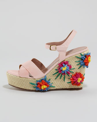 RED Valentino Embroidered Raffia Wedge Sandal