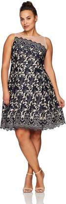 London Times Women's Plus Size Lace Fit & Flare Dress w. Illusion Neckline, Navy/Nude