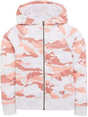 Nike Sportswear Older Girls Vintage Camo Hoodie - Pink/Grey