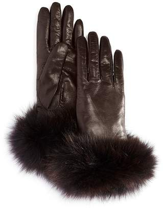 Bloomingdale's Fox Fur Cuffed Leather Gloves - 100% Exclusive