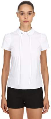 RED Valentino Cotton Poplin Blouse With Bow Detail