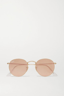 Ray-Ban - Round-frame Gold-tone Mirrored Sunglasses - one size $143 thestylecure.com