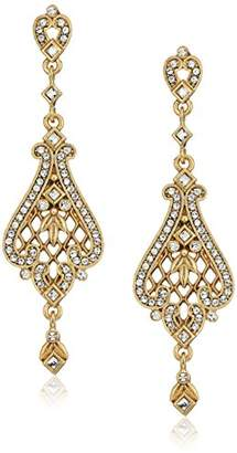 Swarovski 1928 Jewelry 14k Gold-Dipped Filigree Made with Crystal Crystals Drop Earrings