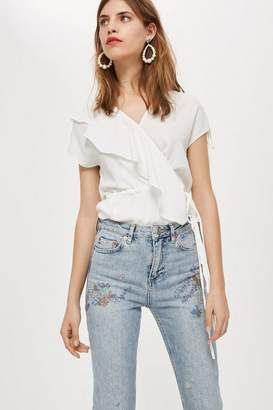 Topshop Petite Floral Embroidered Straight Jeans