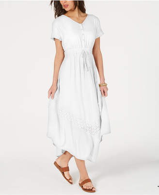 Style&Co. Style & Co Eyelet Handkerchief-Hem Maxi Dress