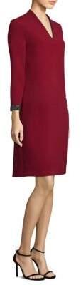 Escada Crystal Cuff Crepe Shift Dress
