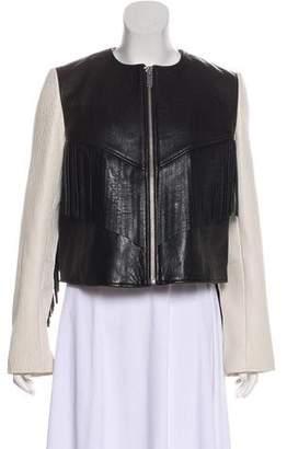 Etoile Isabel Marant Leather Fringe-Accented Motto Jacket w/ Tags