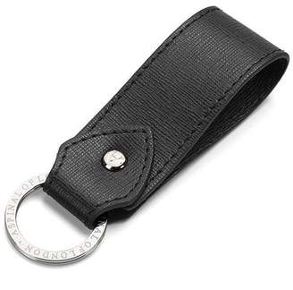 Aspinal of London Leather Loop Keyring In Black Saffiano