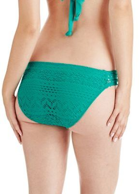 Robin Piccone Penelope Crochet Sheer Side Hipster Bottom with Button Details