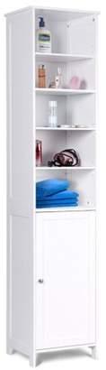 Costway 72''H Bathroom Tall Floor Storage Cabinet Free Standing Shelving Display White