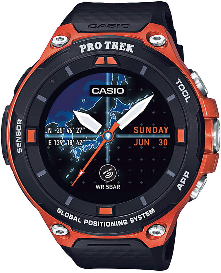 Casio Casio Men's Pro Trek Black and Orange Resin Strap Smart Watch 62mm WSD-F20RG
