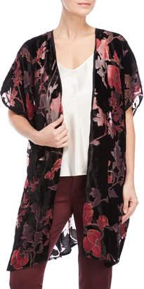 Angie Short Floral Detail Velvet Kimono