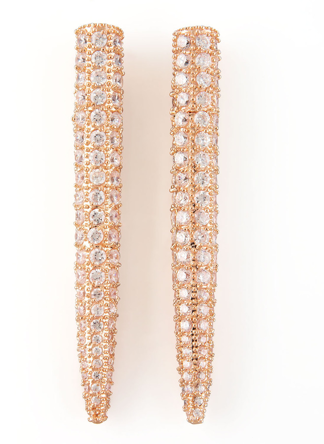 Eddie Borgo Pave Crystal Spike Earrings, Rose Gold