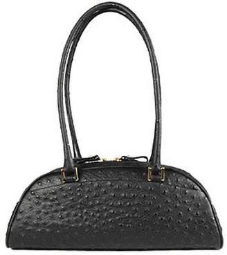 Fontanelli Black Stamped Italian Leather Bag