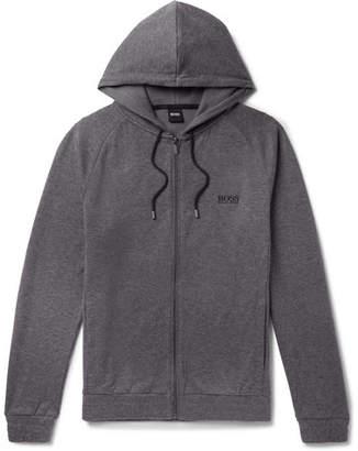 HUGO BOSS Logo-Embroidered Melange Cotton-Blend Jersey Zip-Up Hoodie - Men - Charcoal